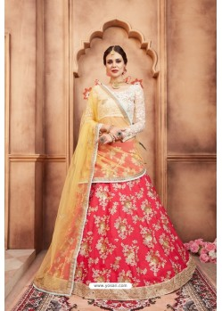 Glossy Red Heavy Embroidered Party Wear Lehenga Choli
