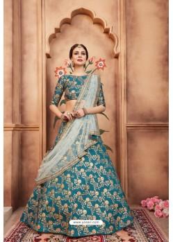 Classy Blue Heavy Embroidered Party Wear Lehenga Choli