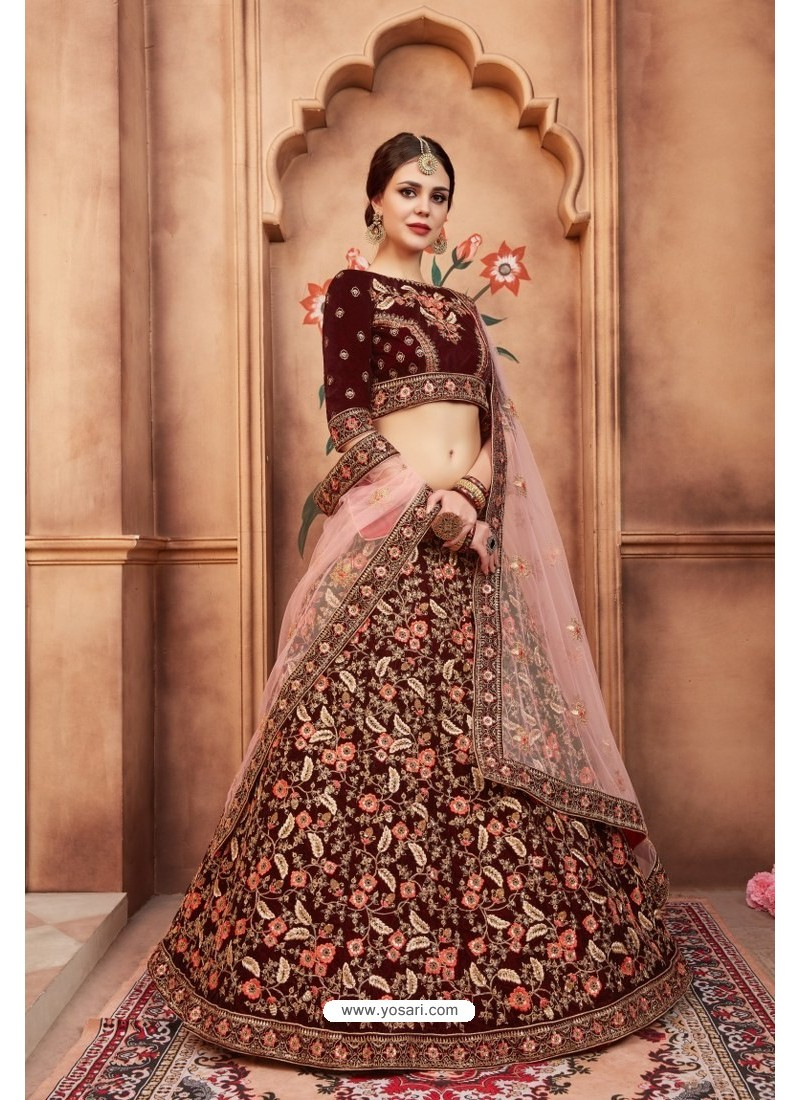 189066adb1 Buy Glowing Maroon Heavy Embroidered Party Wear Lehenga Choli ...