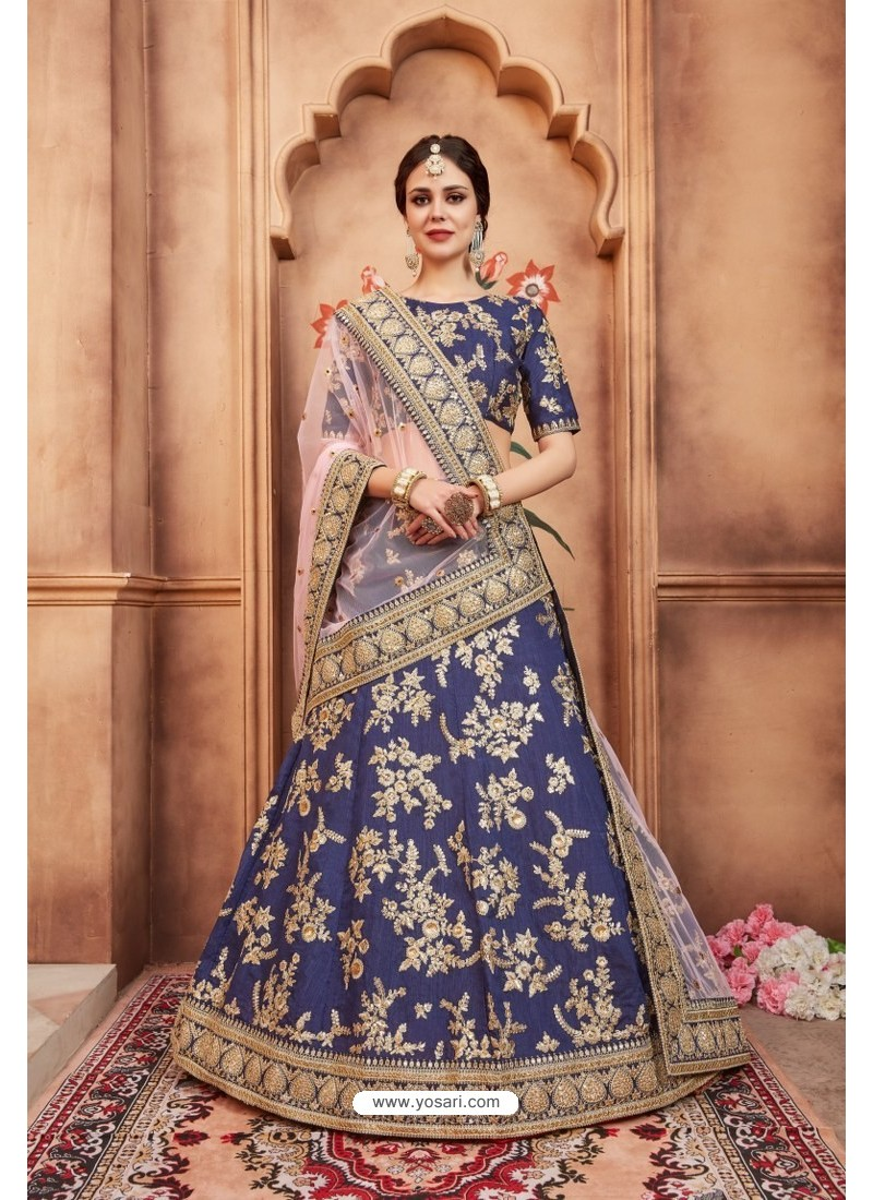 40192658c2 Buy Stylish Navy Blue Heavy Embroidered Party Wear Lehenga Choli ...