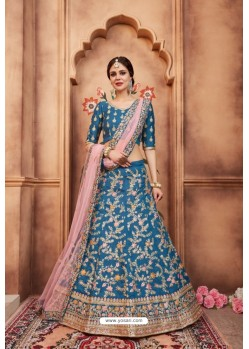 Attractive Blue Heavy Embroidered Party Wear Lehenga Choli