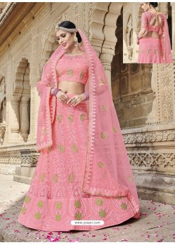 Awesome Pink Heavy Embroidered Lehenga Choli