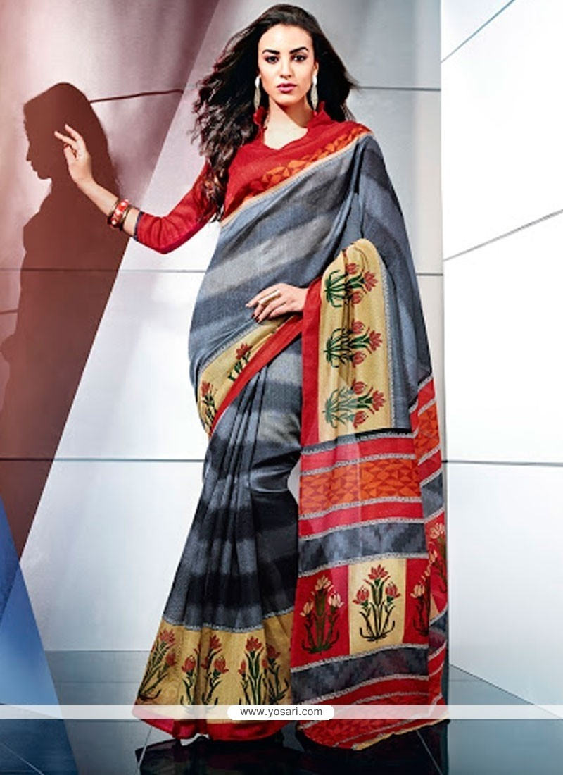 Latest Grey Color Art Silk Casual Saree