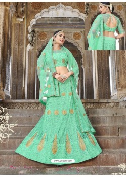 Trendy Green Heavy Embroidered Lehenga Choli
