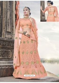 Dashing Orange Heavy Embroidered Lehenga Choli