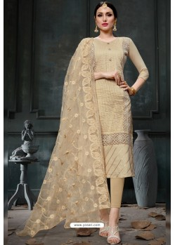 Trendy Cream Embroidered Straight Salwar Suit