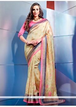 Pretty Beige Color Art Silk Casual Saree