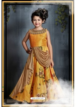 c41bf11ede8 Fabulous Mustard Party Wear Gown for Girls