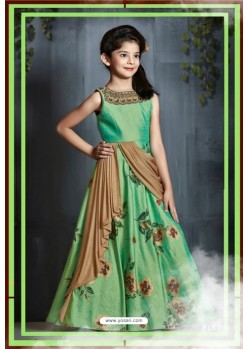90d54bb900e Classy Green Party Wear Gown for Girls