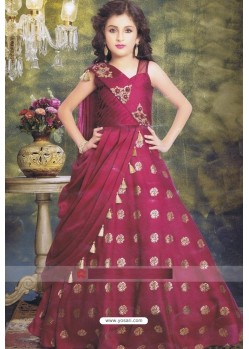 Rosy Red Party Wear Gown for Girls