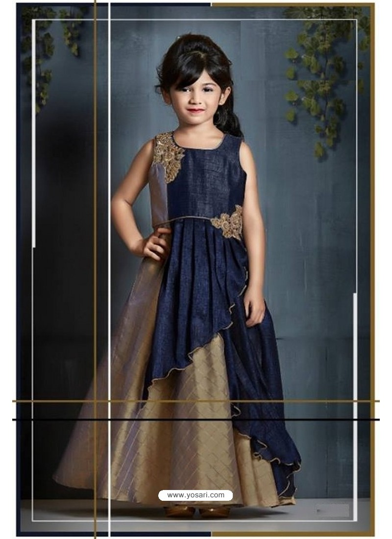 Shining Beige And Navy Blue Party Wear Gown for Girls