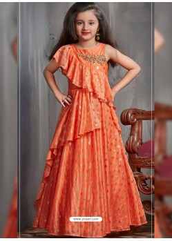 Groovy Orange Party Wear Gown for Girls