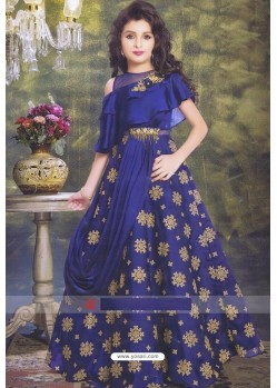 Royal Blue Party Wear Gown for Girls