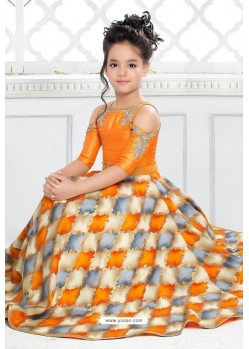 Shining Orange Party Wear Gown for Girls