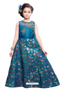 Peacock Blue Party Wear Gown for Girls