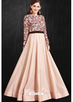 Stylish Light Peach Party Wear Gown for Girls