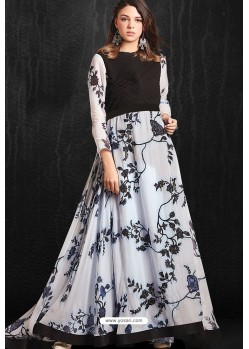 Trendy Black And White Party Wear Gown for Girls