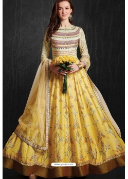 Sizzling Yellow Party Wear Gown for Girls