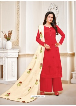 Fabulous Red Embroidered Palazzo Salwar Suit