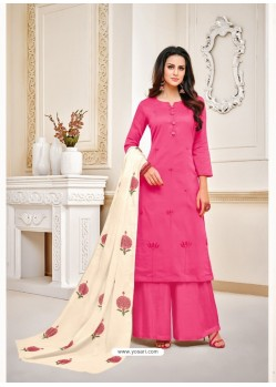 Scintillating Pink Embroidered Palazzo Salwar Suit