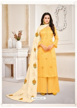 Awesome Yellow Embroidered Palazzo Salwar Suit