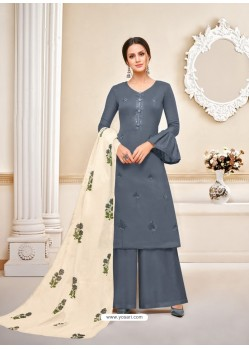 Trendy Grey Embroidered Palazzo Salwar Suit