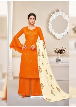 Marvellous Orange Embroidered Palazzo Salwar Suit