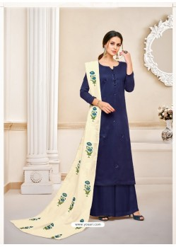 Fascinating Navy Blue Embroidered Palazzo Salwar Suit