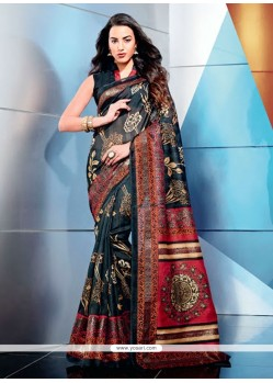 Black Art Silk Casual Printed Saree
