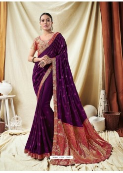 Classy Dark Purple Silk Wedding Party Wear Saree