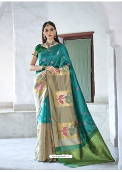 Classy Firozi Silk Wedding Party Wear Saree