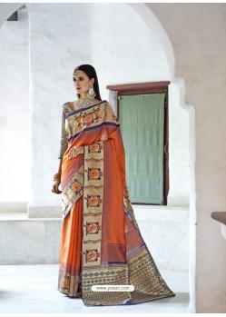 Awesome Orange Silk Wedding Party Wear Saree
