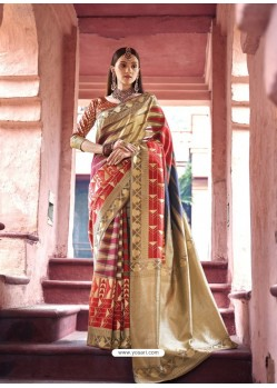 Trendy Golden Silk Wedding Party Wear Saree