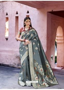 Dashing Grey Silk Wedding Party Wear Saree