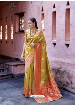 Fabulous Yellow Cream Silk Wedding Party Wear Saree