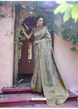Classy Grey Silk Wedding Party Wear Saree