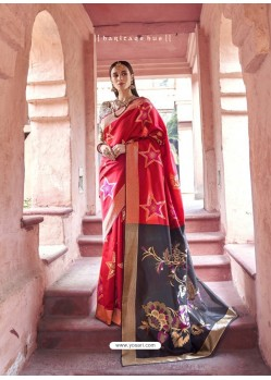 Classy Red Silk Wedding Party Wear Saree