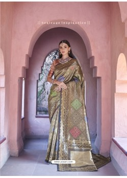 Stylish Brown Silk Wedding Party Wear Saree