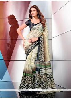 Fab Black And Cream Art Silk Casual Saree