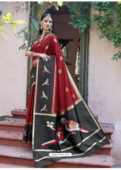 Sizzling Maroon Silk Wedding Party Wear Saree