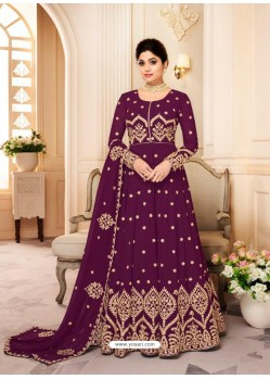 Ravishing Wine Embroidery Designer Anarkali Suit