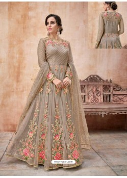 Ravishing Brown Designer Anarkali Suit
