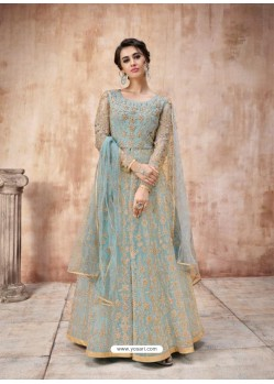Scintillating Sky Blue Designer Anarkali Suit