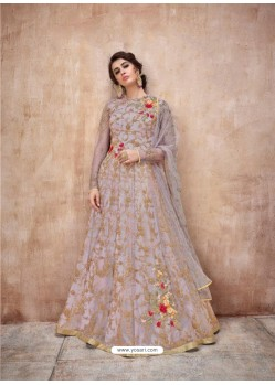 Awesome Lavender Designer Anarkali Suit