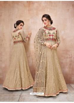 Trendy Beige Designer Anarkali Suit