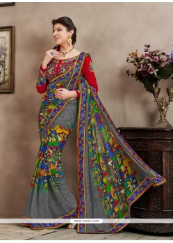 Pleasant Grey Bamber Georgette Casual Saree