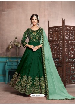 Dark Green Art Silk Designer Floor Length Suits