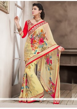 Alluring Cream Bamber Georgette Casual Saree