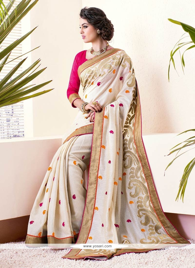 Flawless Beige Resham Enhanced Art Silk Saree