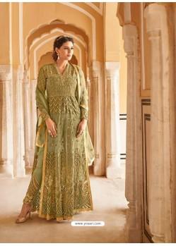 Ravishing Mehendi Embroidered Designer Anarkali Suit